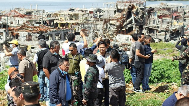 Local officials of Lanao del Sur province visits the Ground Zero (also known as the Main Battle Area) in Marawi for the first time since the end of the Battle of Marawi.