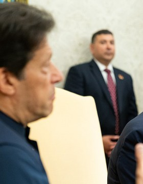 President Donald J. Trump, joined by Prime Minister Imran Khan of the Islamic Republic of Pakistan, speaks with reporters during their bilateral meeting Monday, July 22, 2019, in the Oval Office of the White House.