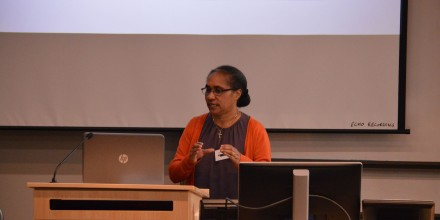 Josina Wospakrik presenting during the Health in Pacific Places session at SOTP2016. Image SSGM