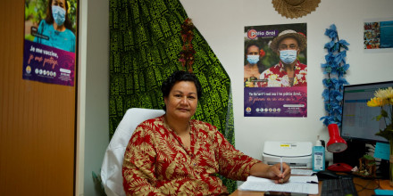 Adelaide Tamaku is a health worker in the COVID-crisis unit in Tahiti (photo Suliane Favennec).