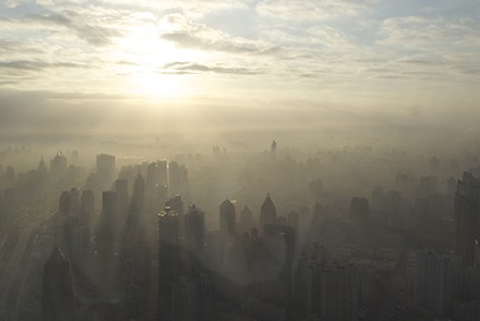 Smog in Shanghai; China's forecast  for dominance is not so clear. Photo by russavia/ Wikimedia commons.