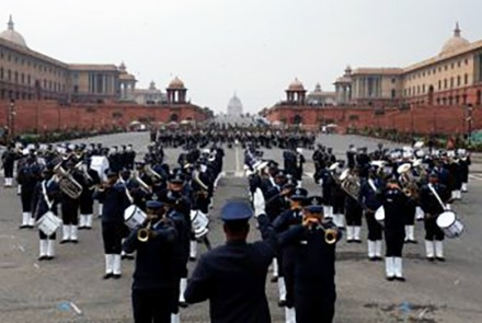 """India Republic Day Members of the Indian military band take part in the rehearsal for the """"Beating the Retreat"""" ceremony in New Delhi, India, 22 January 2019 (Photo: REUTERS/Anushree Fadnavis)."""
