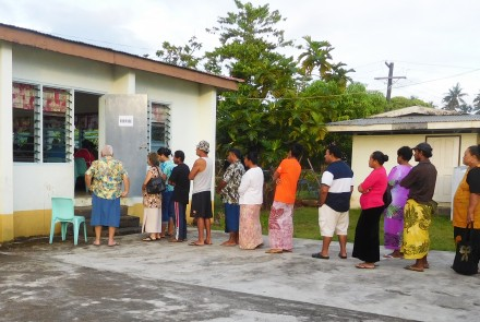 Line of voters during Samoan elections
