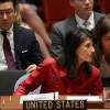 Nikki Haley, United States ambassador to the United Nations, confers with an aide during an emergency meeting of the U.N. Security Council at United Nations headquarters, July 5, 2017 in New York City. Getty Images.