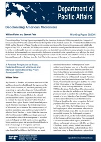 Cover of Working Paper 2020/4 Decolonising American Micronesia