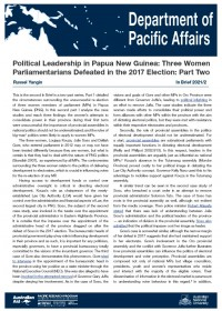 Cover of In Brief 2021/02 Political Leadership in Papua New Guinea: Three Women Parliamentarians Defeated in the 2017 Election: Part Two