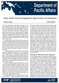 Cover of In Brief 2021/21 China–Pacific Tourism Engagement: Opportunities and Challenges