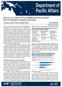 Cover of In Brief 2021/26 Access to Justice in Post-RAMSI Solomon Islands Part 3: Pathways to Dispute Resolution