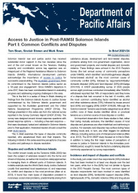 Cover of In Brief 2021/24 Access to Justice in Post-RAMSI Solomon Islands Part 1: Common Conflicts and Disputes